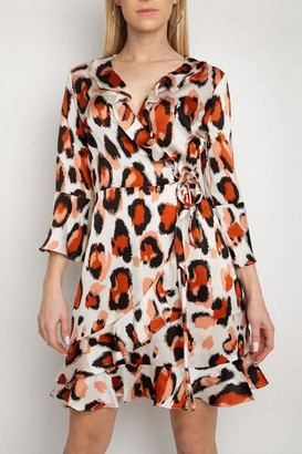Gini London Gini London Cream Animal Print Frill Wrap Dress