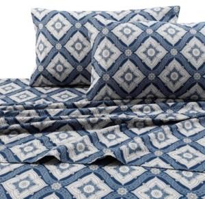 Tribeca Living Flannel 200-Gsm Damask Printed Extra Deep Pocket Queen Sheet Set Bedding