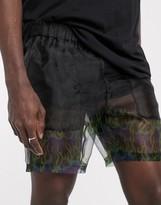 Asos Design DESIGN slim shorter shorts in sheer flame print