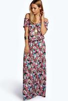 Boohoo Bea Woven Floral Off The Shoulder Maxi Dress