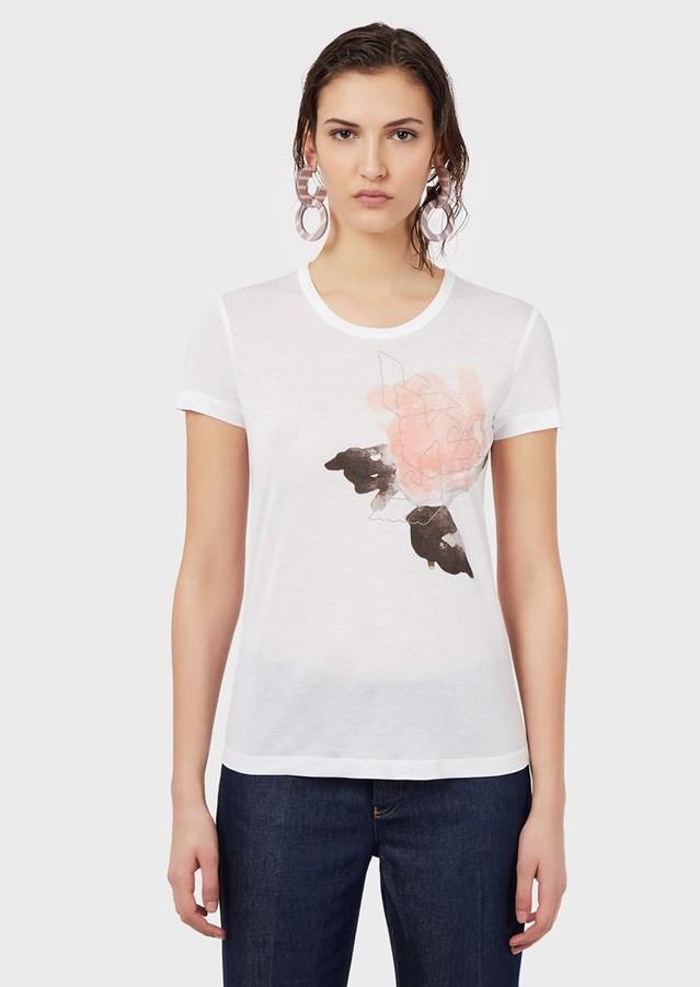 Emporio Armani Micro-Modal T-Shirt With Eagle Print On Watercolour Rose