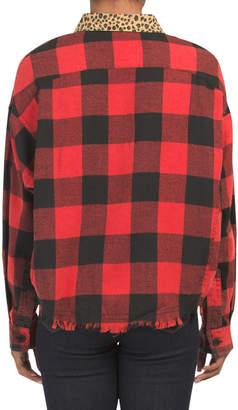 Juniors Buffalo Plaid Shirt With Leopard Collar