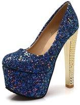 BalaMasa Ladies Sequin Electroplate Heel Platform Imitated Leather Pumps-Shoes