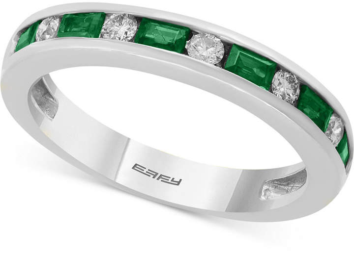 Effy Bridal by Emerald (1/2 ct. t.w.) & Diamond (1/6 ct. t.w.) Band in 18k White Gold (also available in Sapphire or Ruby)