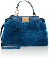Fendi Women's Peekaboo Micro Shearling Satchel-BLUE