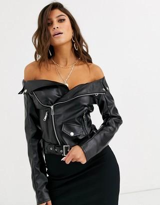 Lemon Lunar off shoulder faux leather jacket top in black