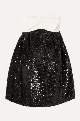 Alexandre Vauthier Strapless Bow-detailed Satin And Sequined Velvet Mini Dress - Black