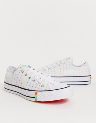 Converse Pride Chuck Taylor Lo All Star White And Rainbow Lightening Bolt Sneakers