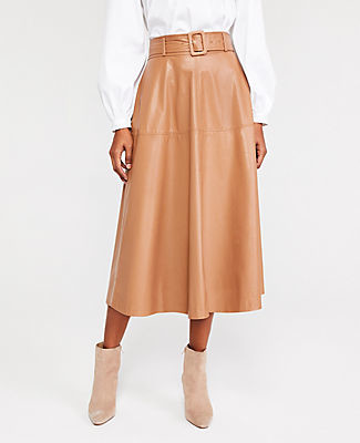 Ann Taylor Faux Leather Belted Midi Skirt