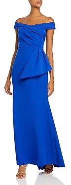 Eliza J Off-the-Shoulder Peplum Gown