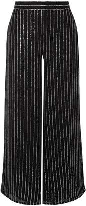 Temperley London Sequined Striped Crepe Wide-leg Pants