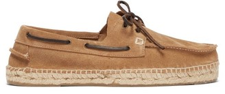 Manebi Suede And Braided-jute Boat Shoes - Mens - Beige