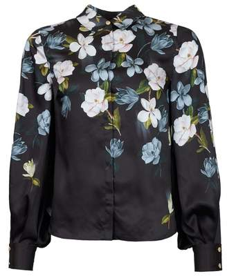Ted Baker Opal Print Chiffon Shirt Colour: BLACK, Size: 8