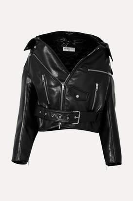 Balenciaga Swing Oversized Leather Biker Jacket - Black