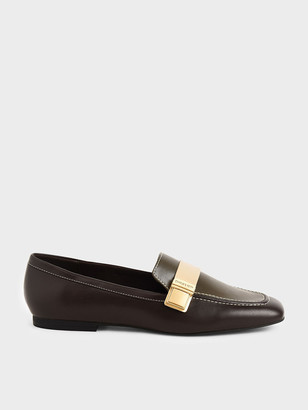 Charles & Keith Metallic Buckle Penny Loafers