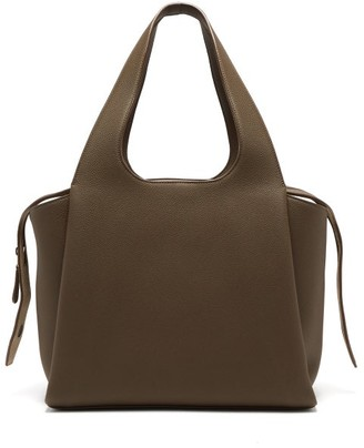 The Row Tr1 Folded Leather Bag - Womens - Khaki