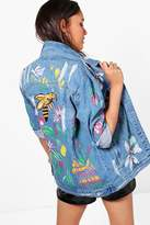 boohoo Lucy Hand Painted Longline Denim Jacket mid blue