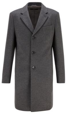BOSS Slim-fit coat in virgin wool with cashmere