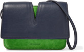 Jil Sander Micro cutout leather and suede shoulder bag