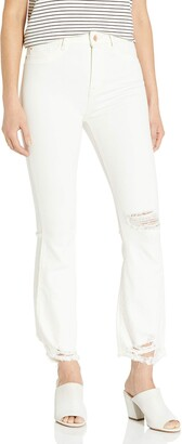 DL1961 Women's Jackie Trimtone Cropped Flare Jeans in Eggshell 25