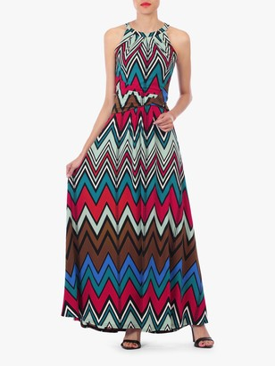 Jolie Moi Wave Print Halterneck Maxi Dress