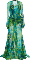 Versace Jungle Print Silk-Chiffon Dress