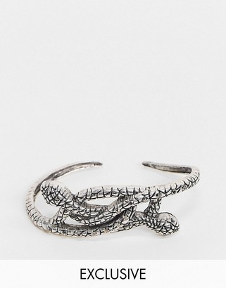 Reclaimed Vintage inspired snake palm cuff in burnished silver tone exclusive to ASOS