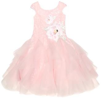 MonnaLisa Rose-appliquA tulle dress