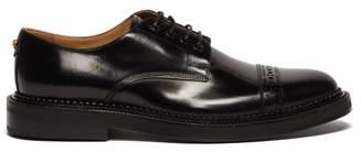 Versace Medusa-plaque Leather Derby Shoes - Mens - Black