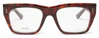 Celine Tortoiseshell Rectangular Glasses - Womens - Tortoiseshell