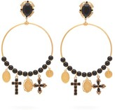 Dolce & Gabbana Beaded Charm-embellished Hoop Clip Earrings - Womens - Gold