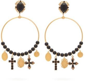 Dolce & Gabbana Beaded Charm-embellished Hoop Clip Earrings - Womens - Gold