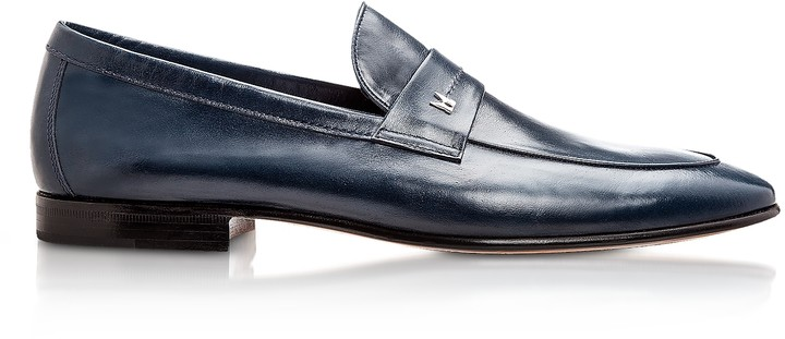 Moreschi Brisbane Navy Kangaroo Leather Loafer Shoes