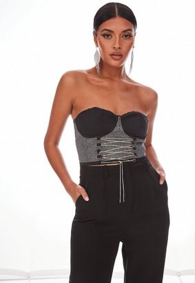 Missguided Black Diamante Bustier Corset Bralet
