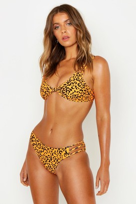 boohoo Petite Leopard Strappy Knot Bikini