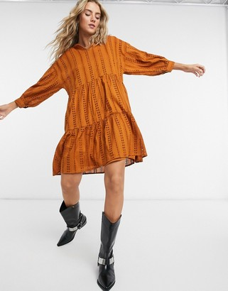 Object Erin tiered mini smock dress in brown