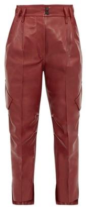 Petar Petrov Hailey High-rise Leather Cargo Trousers - Burgundy