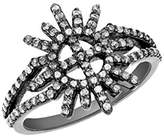 Jade Jagger Star and Garter Ring with Black Rhodium Plated Sterling Silver and White Diamonds - Size L
