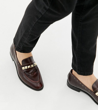 House Of Hounds Wide Fit Rex stud loafers in burgundy-Red