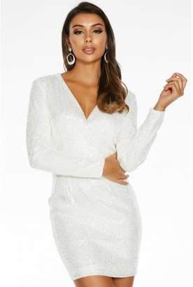 Quiz White Sequin Wrap Front Long Sleeve Dress
