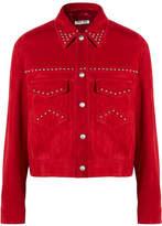 Miu Miu Studded Suede Jacket - Crimson
