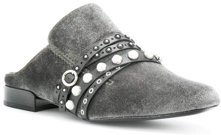 3.1 Phillip Lim velvet mules with stones