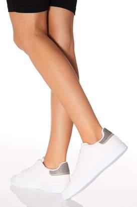 Quiz Silver Embellished Heel Trainer