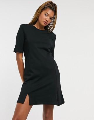 Monki Andrea Organic cotton mini T-shirt dress with splits in black