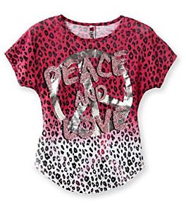 Beautees Girls' 7-16 Pink Animal Print Dip-Dye Tee