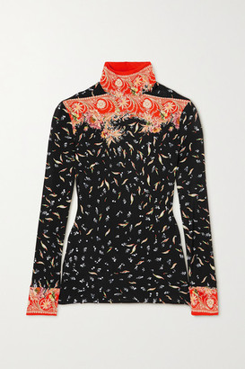 Paco Rabanne Floral-print Stretch-jersey Turtleneck Top - Orange