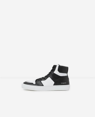 The Kooples Two-tone leather high-top trainers with logo