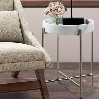 Madison Home USA Bradford White/ Silver Accent Table