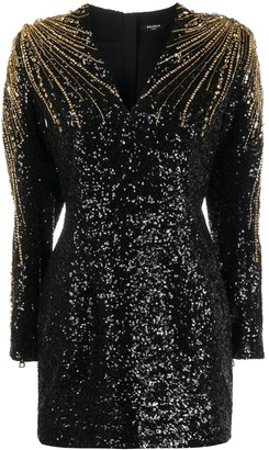 Balmain Sequin-Embellished Beaded Cocktail Dress