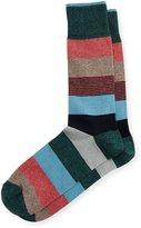 Neiman Marcus Wide Mixed-Stripe Jaspe Socks